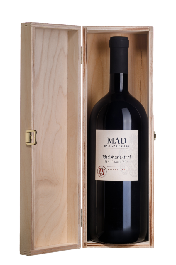Marienthal Wein Blaufränkisch Magnumflasche in der Holzkiste